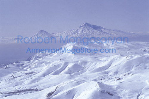 WInter on Aragats with Ararat on backdrop